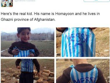 صفحه مسی در تویتر عکس های کودک افغان علاقه مندش را منتشر کرد